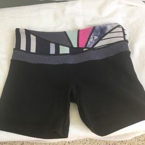 Lululemon black shorts. Size 4. Colored waistband